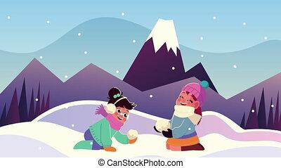 vêtements hiver, gosses, boule de neige, jouer, scène, porter, couple