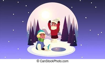 vêtements hiver, scène, nuit, couple, jouer, gosses, porter, boule de neige