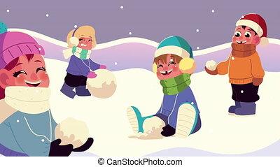 vêtements hiver, snowscape, scène, groupe, jouer, gosses, porter, boule de neige