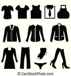 vêtements, icônes