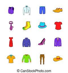 vêtements, icônes, dessin animé, ensemble