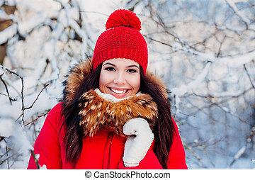 vêtements, jeune, beau, porter, rouges, hiver, femme, neige, brunette, portrait