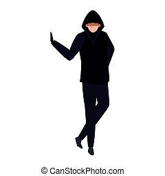 vêtements, noir, pirate informatique, fond blanc