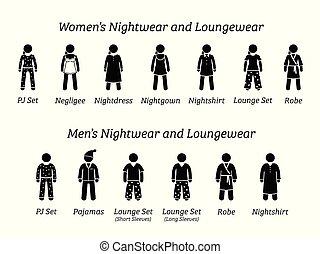 vêtements nuit, mode, designs., hommes, loungewear, femmes