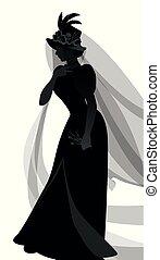 vêtements, plumes, brin, voiles, blanc, ancien, une, silhouette, isolé, fond, fleurs, porter, décoré, chapeau, main., skull., femme, veuve, roses, habillé