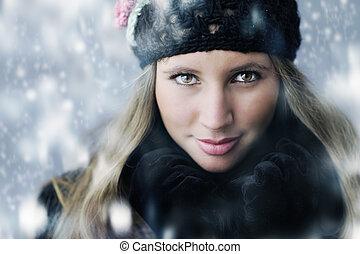 vêtements, portrait, femme, hiver, jeune