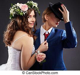 vêtements, same-sex, marriage., nouveaux mariés, élégant