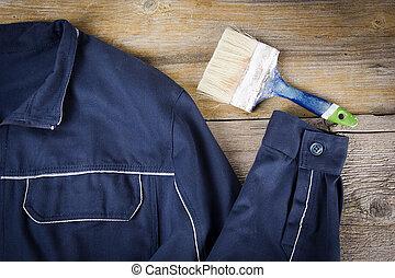 vêtements travail, brosse, peinture