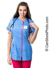 vêtements, travail, jeune, joli, infirmière