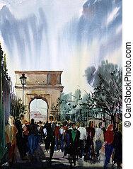 vía, gente, pintado, tito, watercolor., romano, cityscape, ...