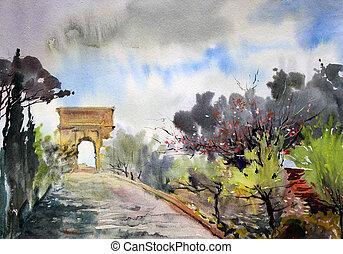 vía, pintado, tito, watercolor., romano, cityscape, arco,...