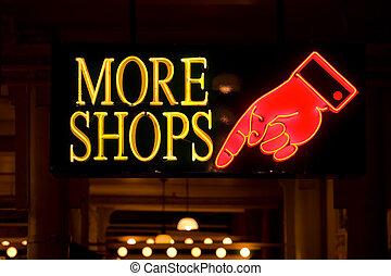 více, obchody