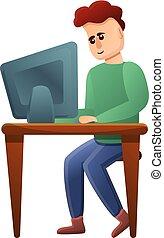 vício, computador, estilo, caricatura, ícone