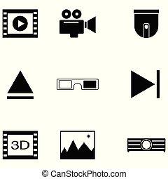 vídeo, ícone, jogo