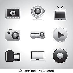 vídeo, ícones