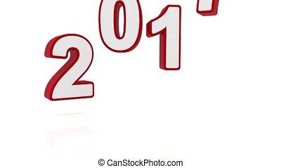 vídeo, animação, -, ano novo, 2017, conceito, -, vermelho