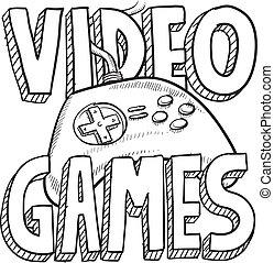 vídeo, bosquejo, juegos