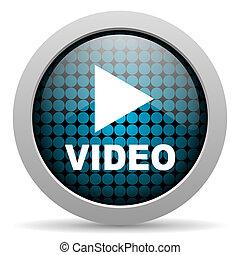 vídeo, brillante, icono
