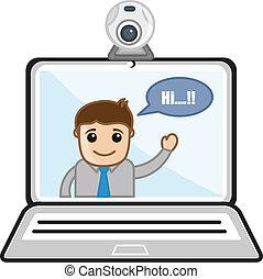 vídeo, -, charlar, historietas del negocio
