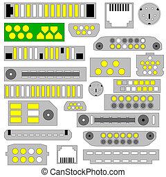 vídeo, conectores, áudio, telefone