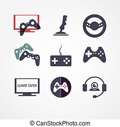 vídeo, conjunto, juegos, icono