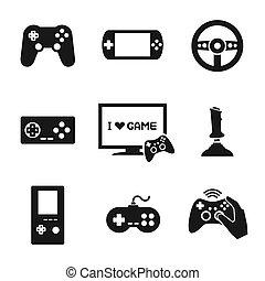 vídeo, controlador, conjunto, juegos, iconos