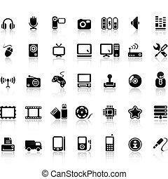 vídeo, e, áudio, ícone, jogo