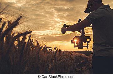 vídeo, escénico, ocaso, gimbal, toma, cámara, tiro, ...