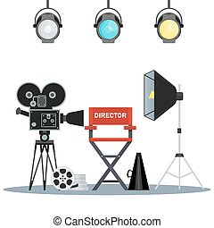 vídeo, estúdio, equipamento