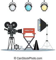 vídeo, estudio, equipo