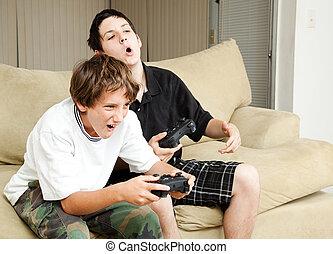 vídeo, gamers, -, intensidade