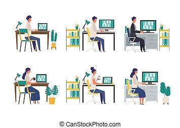 vídeo, gente, vía, hogar, teleconferencia, monitor., conferencia, oficina., vario
