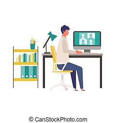 vídeo, hombre, teleconferencia, vía, hogar, monitor., conferencia, oficina.