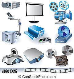 vídeo, iconos