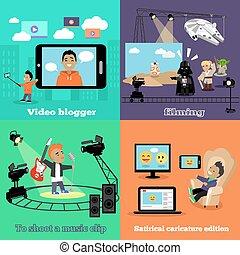 vídeo, indústria, blogger, filmando, desenho, apartamento