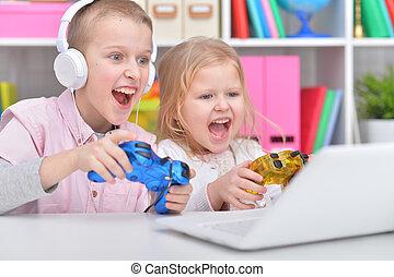 vídeo, irmã, jogo, irmão, tocando