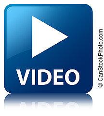 vídeo, lustroso, azul, refletido, quadrado, botão