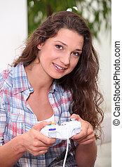 vídeo, mulher, jogos, tocando