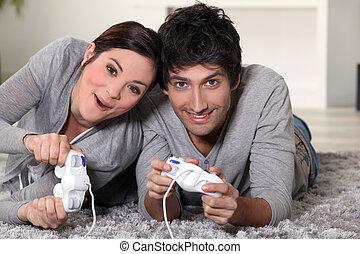 vídeo, pareja, juegos, juego