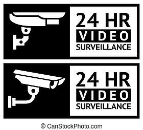 vídeo, pegatinas, vigilancia