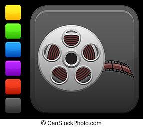 vídeo, película, ícone, ligado, quadrado, internet, botão