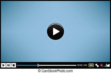 vídeo, película, medios, jugador
