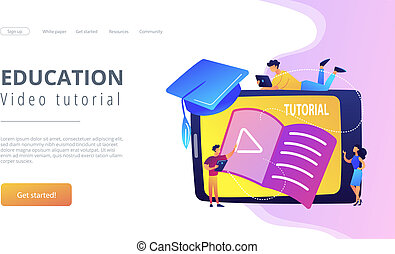vídeo, preceptoral, concepto, vector, illustration.
