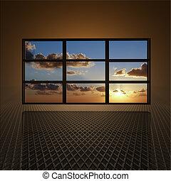 vídeo, sol, parede, nuvens, telas