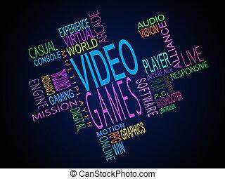 vídeo, términos, juegos, juntos