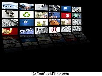 vídeo, tela tv, tecnologia, e, comunicações