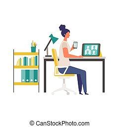 vídeo, teleconferencia, vía, hogar, monitor., conferencia, mujer, oficina.