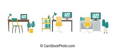 vídeo, teleconferencia, vía, hogar, monitor., conferencia, oficina.