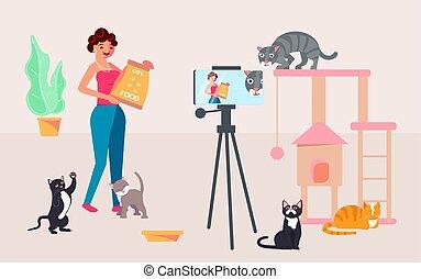 vídeo, tiroteio, blogger, conteúdo, mulher
