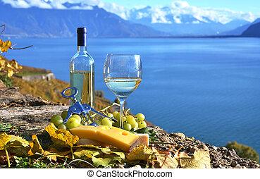 víno, a, cheese., lavaux, krajina, švýcarsko